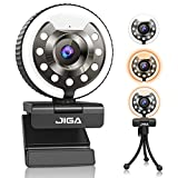 Webcam 1080P con micrófono, Full HD Facecam Streaming, cámara USB con anillo de luz, trípode, giro de 360°, cámara web JIGA para PC, videochat, portátil, Zoom, Skype (blanco, cálida y natural).