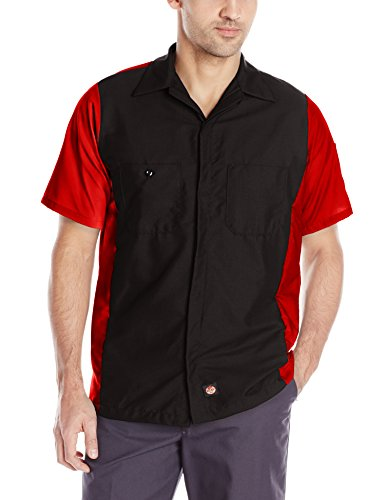 Red Kap Men's Ripstop Crew Shirt, Short Sleeve, Black/Red, Medium