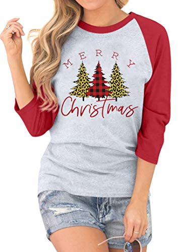 Leopard Printed Plaid Christmas Trees T-Shirt for Women 3/4 Sleeve Splicing Graphic Tops Tees Xmas Gift Holiday Shirts Red