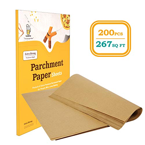Katbite 200Pcs 12x16/9x13 Inch Heavy Duty Unbleached Parchment Paper, Parchment Paper Sheets for Baking Cookies, Cooking, Frying, Air Fryer, Grilling Rack, Oven(12x16 Inch)