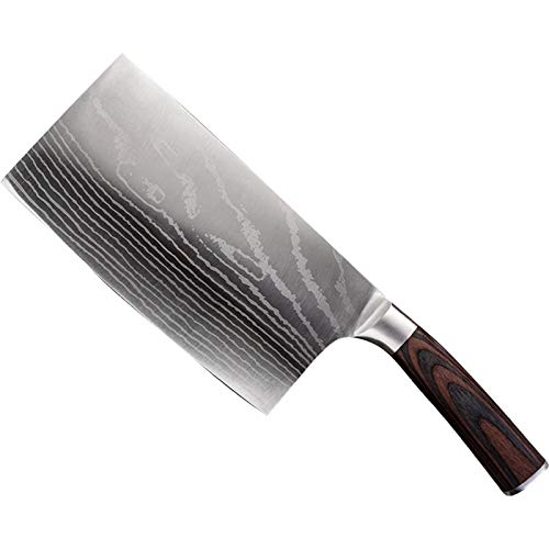 5CR15MOV Cuchillo de chef de acero inoxidable 7 pulgadas Damasco Patrón Hoja Pakka Madera Madera Cortador Mejores Cuchillos de Cocina
