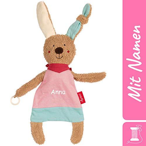 Sigikid Schnuller-Schnuffeltuch Hase mit Namen Bestickt, Baby & Kinder Schmusetuch personalisiert, Kuscheltuch Geschenkidee Mädchen, Rosa, 38847