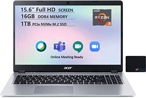 "Acer Aspire 5 Laptop, 15.6"" Full HD Screen, AMD Ryzen 3-3200U Processor up to 3.5GHz, 16GB RAM, 1TB PCIe SSD, Webcam, Microphone, WiFi, Online Meeting/Remote Working, Win 10,Silver, KKE Mousepad"