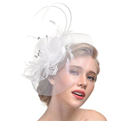 JIAHG Damen Fascinator Blumen Netz Braut Kopfschmuck Haar Clip Hut Feder Haarschmuck Kopfbedeckung für Party Kirche, Einheitsgröße, Weiß