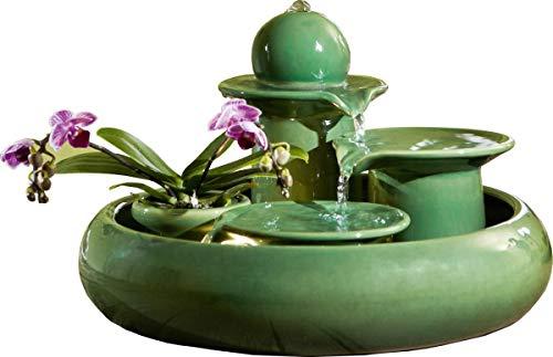 seliger Keramik-brunnen Locarno grün Katzen-brunnen