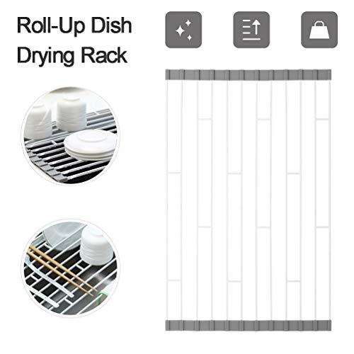 Küche Wäschetrockner Küche Geschirr Wäschetrockner Over Sink Roll-up Dry Drainers Edelstahl Faltbare (Size : 26 * 58cm)