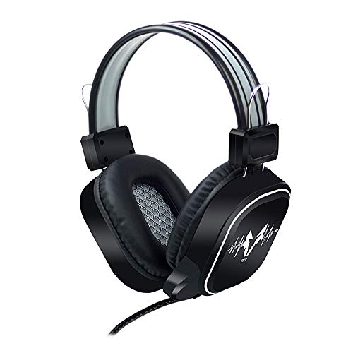 Best Choice USB Wired Gaming Headphone LED RGB Lighting Over-Ear Gamer Headset with Microphone for PC Laptop Game Music Device PS4 Not Glowing Black Gray