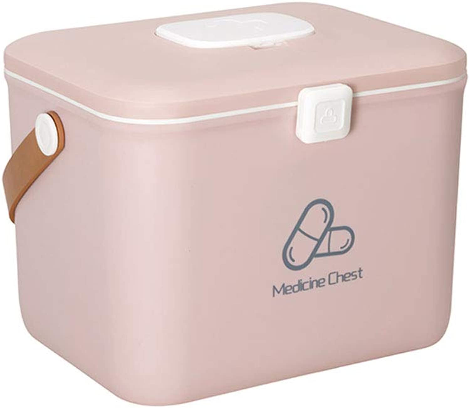 GSHWJS-Medical Chest Medicine Box Household Large Capacity Household Multi-Layer Medical Storage Box First Aid Kit Medical Kit 23x32x25cm (color   Pink)