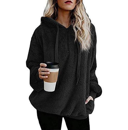 Hoodies FüR Frauen -Damen Oversize Winter Warm Pullover Langarm Oberbekleidung Fuzzy Casual Lose Kapuzen Sweatshirts FüR Frauen(Schwarz 3,5XL)