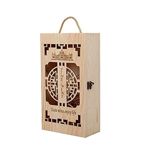 Retro Hueco Caja de Vino de Madera Tablero De Tarjeta De Bloqueo De Metal PortáTil De Dos Botellas Caja de Madera Seguro para Actividades De CelebracióN De Regalos Y Almacenamiento De Vino