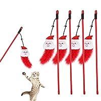 Licogel キャットワンドおもちゃプラスチック4PCSフェイクフェザーキャットチェイサーワンドキャットティーザークリスマスインタラクティブ楽しいチェイスからかい子猫屋内屋外ペットプラスチック
