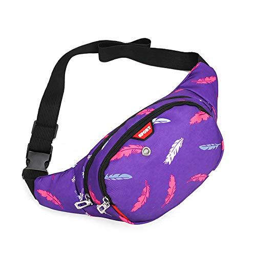 Estwell Bauchtasche Gürteltasche Damen Herren Mode Hüfttaschen Wasserdicht 3 Reißverschluss Taschen Groß Laufgürtel Umhängetasche für Reisen Wandern Festival (Stil03-Lila)