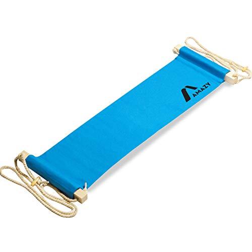 Amazy XXL Fuß Hängematte für breite Tische bis 2,00 m – Höhenverstellbare und extra breite Fußstütze zur Entspannung und Entlastung am Schreibtisch und im Büro (Blau)