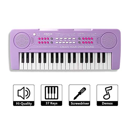 SAOCOOL Kids Keyboard, 37 Keys Keyboard Piano Multifunction Electronic Keyboard Music Toy for Boys and Grils (Purple)