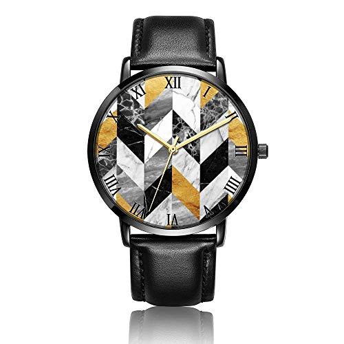 Relojes Anolog Negocio Cuarzo Cuero de PU Amable Relojes de Pulsera Wrist Watches Raya de mármol