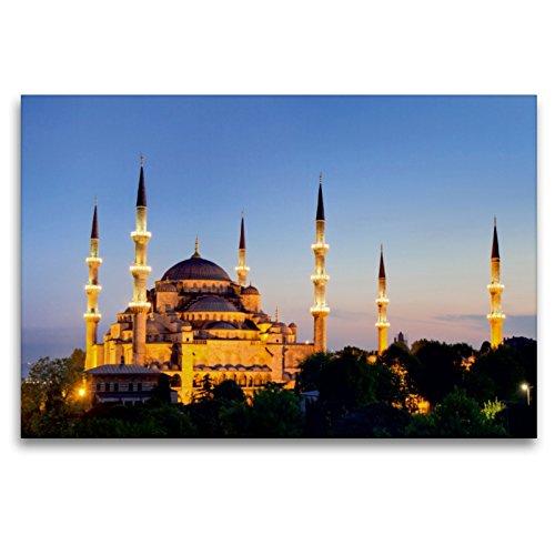 CALVENDO Premium Textil-Leinwand 120 x 80 cm Quer-Format Istanbul - Blaue Moschee in der Dämmerung, Leinwanddruck von Juergen Schonnop
