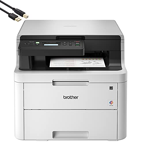 Brother HL-L3290CDW Compact Digital LED Color All-in-One Printer for Home Office with Convenient Flatbed Copy & Scan, Plus Wireless Duplex Printing, 25 ppm, 600x2400 dpi - BROAGE 10 Feet Printer Cable