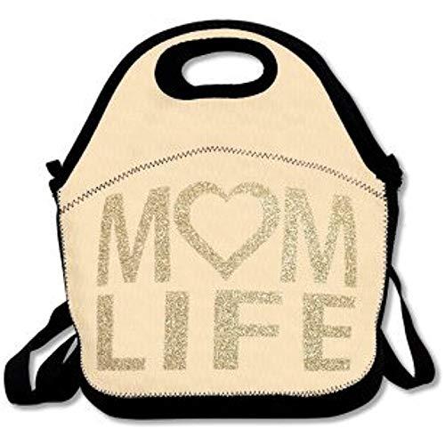 Jacklee Mom Life HeartLunch Tas Voor Vrouwen Lunch Tas Lunch Doos Voedsel Tas Leuke Lunch Tas Voor Volwassenen Lunch Tas Voor Kinderen Met Oud Goud Glitter Lettering Accessoires
