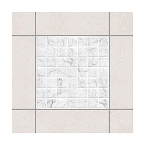 Apalis Fliesen-Deko Mosaikfliese Mamoroptik Bianco Carrara 15x15cm Set 10teilig 15x15cm