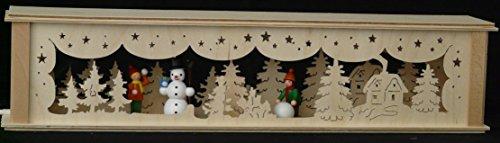 Schwibbbooghoogten verlicht met spelende kinderen (gekleurd) B x H = 52 x 10 cm NIEUW lichtboog vensterbank Ertsgebergte hout