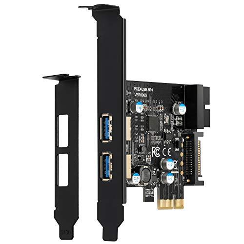BEYIMEI PCI-E to USB 3.0 2-Port Erweiterungskarte, mit 15-poligem SATA-Stromanschluss und 19-polige USB3.0-Schnittstelle, geeignet Desktop Windows XP/Vista /7/8/10