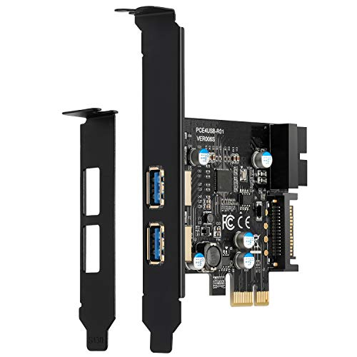 BEYIMEI PCI-E to USB 3.0 2-Port Erweiterungskarte, mit 15-poligem SATA-Stromanschluss und 19-polige USB3.0-Schnittstelle, geeignet Desktop Windows XP/Vista /7/8/10/ Linux