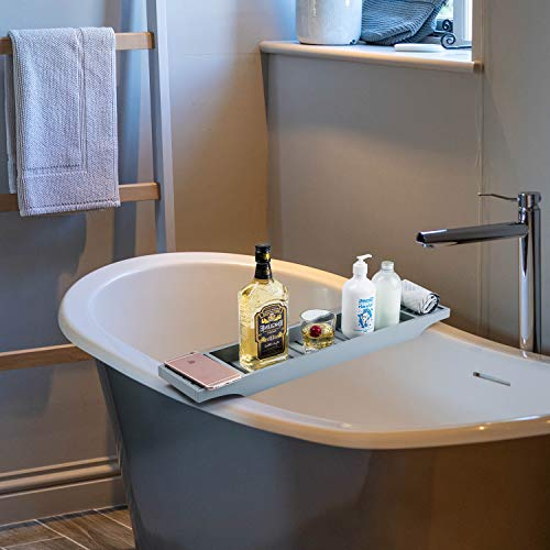 Vencier Bamboo Wood Bath Tub Rack Bathroom Shelf Tidy Tray Storage Caddy Organiser (Grey)