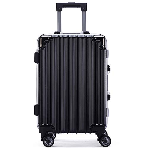 Luggage Aluminum Frame Lever Box Male and Female 22 inches Black.