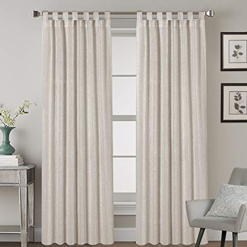 Living Room Linen Curtains Home Decorative Tab Top Curtains Privacy Added Energy Saving Light Filtering Window Treatments Draperies for Bedroom, 2 Panels, 52 x 84 - Inch, Angora