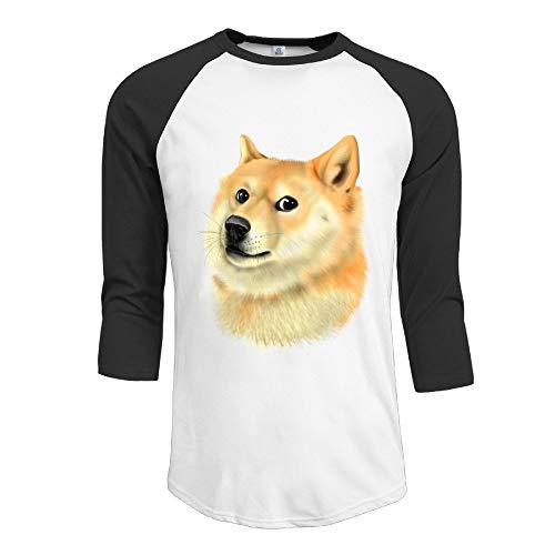 HSOAA Baseball Shirt Men's Cute Doge Wow 3/4 Sleeve 100% Cotton Baseball tee/T Shirts