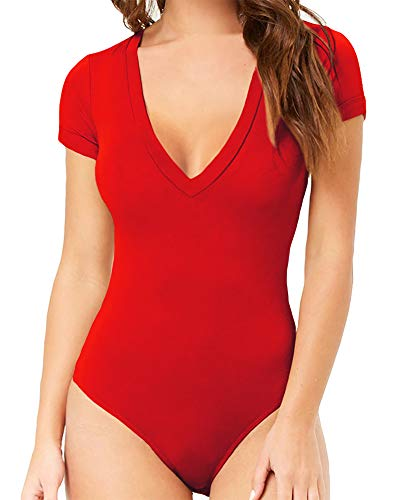 MANGOPOP Damen Modal V Ausschnitt Kurzarm Bodysuit Jumpsuit - Rot - XX-Large