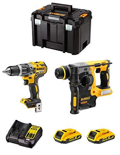 DeWALT Kit DWK210 (Taladro Percutor DCD796 + Martillo Perforador DCH273 + 2 Baterías de 2,0 Ah + Cargador + TSTAK VI)