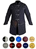 Medieval Thick Padded Full Sleeves Gambeson Coat Aketon Jacket Armor, Black Cotton Fabric (Small)