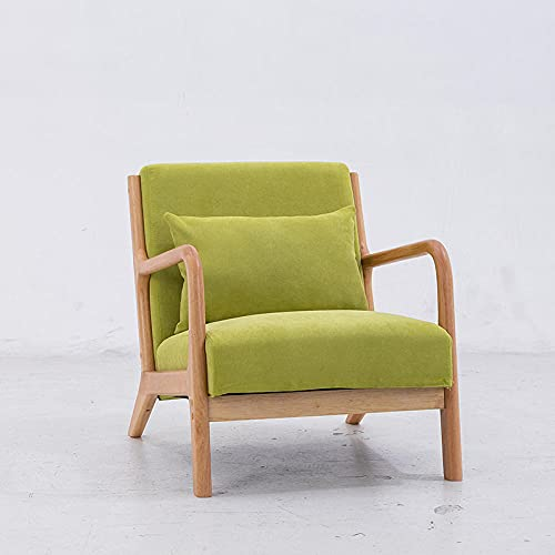 Silla Sofá Silla de sofá Soltero nórdico, Tela Simple de Tela de Tela Simple Tienda de té de Madera Maciza Sofá Casual-Verde