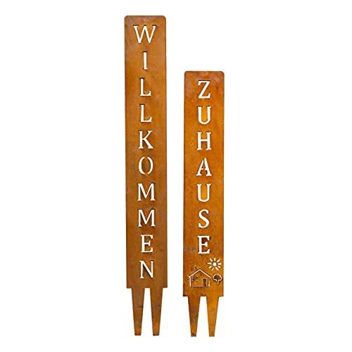 SteelTastic WILLKOMMEN + ZUHAUSE - Edelrost Gartenstecker - 2 er Set - Perfekte Rost Deko für den Garten, Balkon oder Terrasse - Premium Qualität Made IN Germany (WILLKOMMEN + ZUHAUSE)