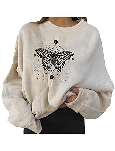 WXDSNH Sudadera para Mujer Diseño Creativo De Mariposa Sense Cuello Redondo Manga Larga Top De Moda