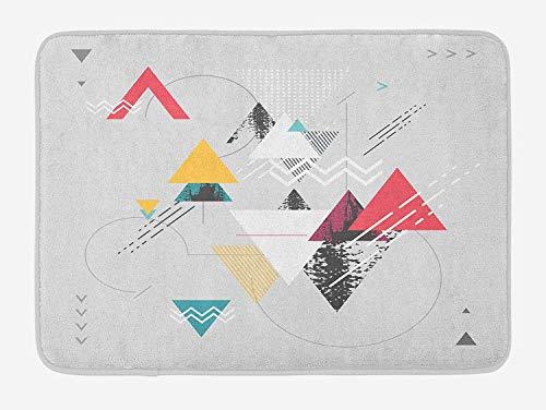 Casepillows Abstract badmat, abstract geometrisch modern design met driehoek en getypte gedetailleerde kunst, pluche baddecoratie mat met niet-slip-achterkant, 23,6 x 15,7 inch, mosterd lichtgrijs groen