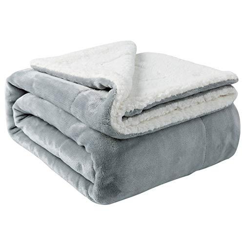 Nanpiper Sherpa Blanket Twin Thick Warm Blanket for Winter Bed Super Soft Fuzzy Flannel Fleece/Wool Like Reversible Velvet Plush Blanket (Light Grey Twin Size 60'x80')