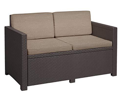 Allibert Victoria, 2-Seater Lounge Sofa, Brown/Taupe (Poly Cotton Cushion)