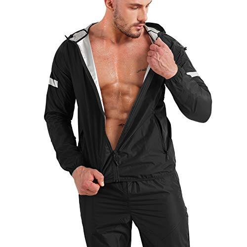 Junlan Sauna Suit for Mens Weight Loss Jacket Sauna Pants Gym Workout Sweat Suits (Black Tops and Pants, Large)