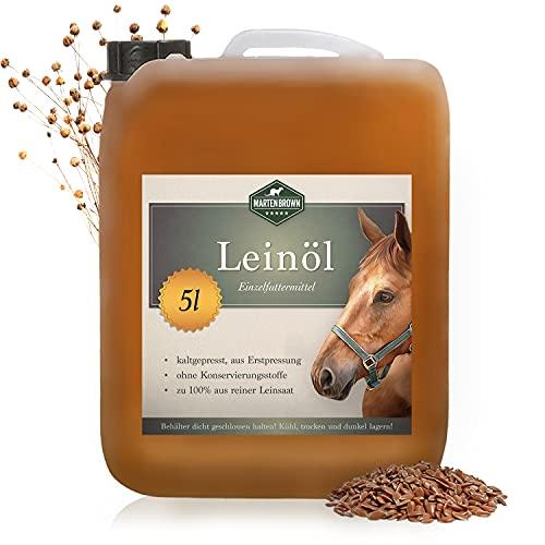 Martenbrown® Premium Leinöl für Pferde, Hunde und andere Tiere   im XXL-Kanister [5 Liter]   kaltgepresst und 100{cb84171ac1110ae3acffe3aec998dad1356f6cfd1f3ab37e57d476a1ed09247d} rein und natürlich   Nahrungsergänzung für Tierfutter