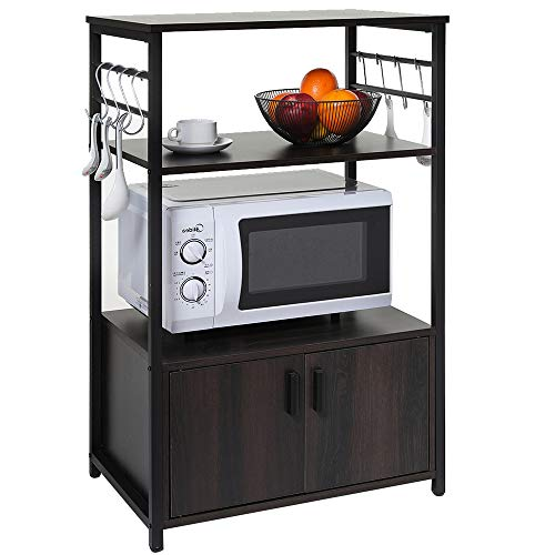 IWELL Kitchen Baker's Rack with 1 Cabinet and 8 Hooks, 3-Tier Utility Storage Shelf, Microwave Oven...