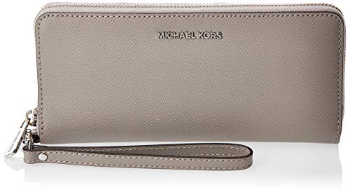 Michael Kors Jet Set Travel Continental Zip Around Leather Wallet Wristlet (Pearl Grey)