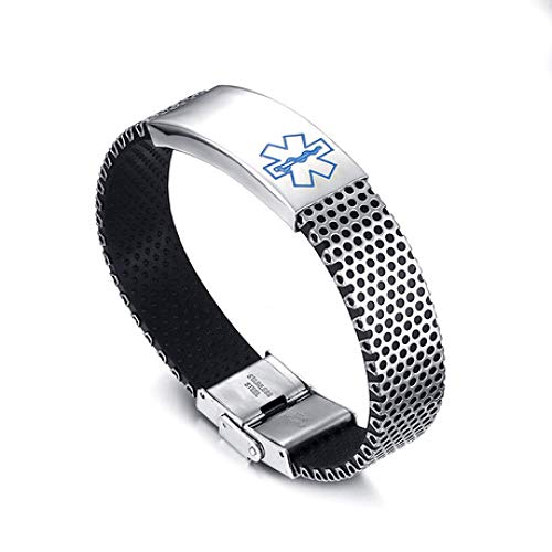 ZhongYi Armband, heren roestvrij stalen medische logo armband, Unisex B