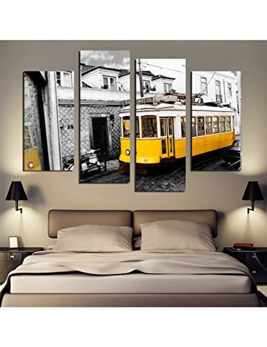 GASFG Retro Stijl 4 Stuk Geel Bus Canvas Print Canvas Schilderij Home Decor Wall Art Foto Voor Woonkamer Geen Frame
