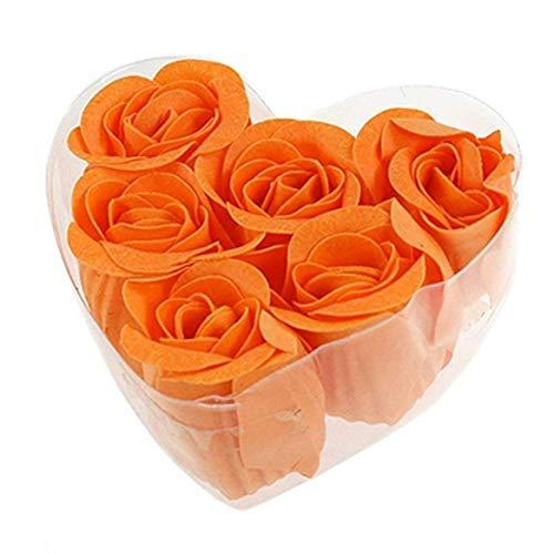 AYRSJCL 6 Pcs Rose Fleur parfumée Savon de Bain pétales Orange avec Forme de Coeur boîte