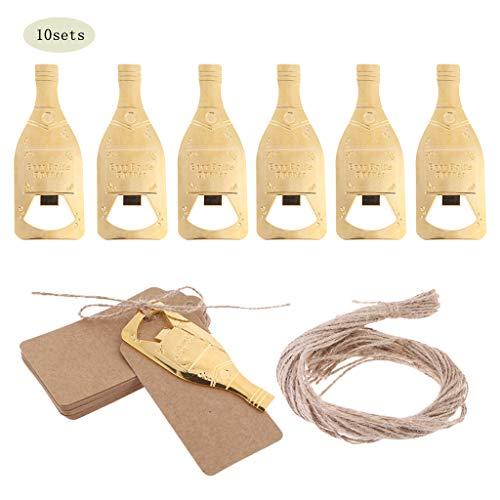 Eliky 10 sets vintage bier flesopener met kaart, dag sleutels, flesopener, gastgeschenken verjaardag, bruiloftsfeest natuur