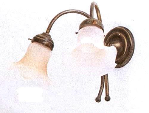 Applique in ottone a due luci da parete con vetro bianco modello liberty