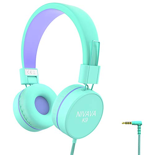 Nivava K9 Kids Headphones for Children Boys Girls Teens Wired 85dB Volume Limited Foldable Lightweight Stereo On Ear Headset for iPad Cellphones Computer MP3/4 Kin Airplane School (Green&Purple)