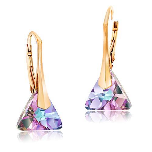 Chic Bijoux 18K Oro Rosa Pendientes Colgantes para Mujeres – Con Plata de Ley 925 y Cristales de Swarovski para Orejas Sensibles – Regalo para Mamá e Hipoalergénicos (Púrpura)